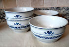 Tienshan Folk Craft Blue HEARTS TIE29 Pattern Crock Style Cerea/Soup Bowls 4 PC