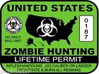 United States Zombie Hunting Permit sticker outbreak response team decal GREEN
