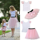 Mother and Daughter Casual Summer T shirt Skirt Tulle Dress Matching Outfits USA