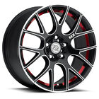 4 Drag Concepts R 21 18x85 5x1143 5x120 +40mm Black Machined Red Wheels Rims