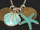 Beach Theme Sea Shell Gold  Teal Starfish Charm Tibetan Silver 18 Necklace A20