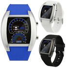 Fashion Aviation Wristwatch Turbo Dial Flash LED Watches Sports Car Meter Watch