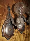 2 VINTAGE ART DECO ERA METAL VICTORIAN SCONCES CHANDELIER WALL FIXTUREs 1930's