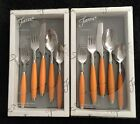 2 sets Of FIESTA Tangerine FLATWARE - 5 PC SET (S) - NEW IN BOX