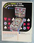 Original Williams ACES & KINGS  Pinball Machine Flyer Excellent Condition