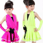 Red Childrens Modern Latin Dancing dress GIrls Dance wear Costume for kids