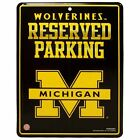 MICHIGAN WOLVERINES 85x11 METAL RESERVED PARKING SIGN NEW RICO INDUSTRIES