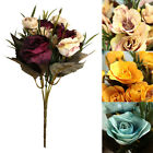 12 Head Bouquet Artificial Rose Silk Flower Capable Home Party Wedding Decor US