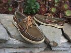 90 Sperry Top Sider Bluefish Olive Green Leather Plaid Slip On Boat Shoe W 6
