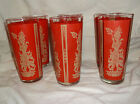 SET OF 6 VTG FEDERAL RED TUMBLERS ASIAN GIRL DANCER....EXCELLENT CONDITION!!