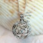 Fancy ROSE Flower STERLING SILVER Pearl Cage Pendant Necklace akoya oyster