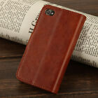 Brown Genuine Luxury Real Leather Flip Wallet Case Stand Cover For iPhone 4 4S