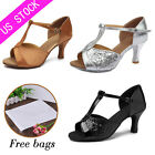 US Stock Womens Ballroom Latin Tango Dance Dancing Shoes heeled Salsa Shoes 808