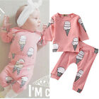 Adorable Newborn Baby Girls Outfits T shirt Tops+ Long Pants Outfits Clothes USA