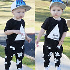 US Cotton Newborn Toddler Kids Baby Boy Clothes T shirts Tops+Pants Outfits Set