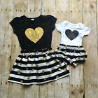 Toddler Kids Baby Girls Romper Pants T shirt Dress Outfits Matching Clothes USA
