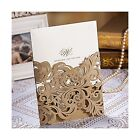 Wishmade 50x Luxury Champange Gold Laser Cut Wedding Invitations Cards Kits w
