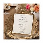 Wishmade 50x Gold Square Laser Cut Wedding Invitations Cards with Lace Floral
