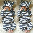 US Stock Toddler Kid Baby Boy Girl Hoodies Top+Long Pants Outfit Striped Clothes