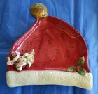 Fitz and Floyd Canape Plate~Sleeping Mouse on Santa Hat  CHRISTMAS SANTA HAT