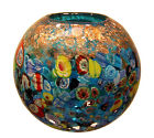 New 7 Hand Blown Glass Art Vase Bowl Blue Italian Millefiori Multicolor