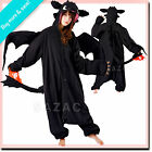 Disneys BLACK TOOTHLESS DRAGON SAZAC KIGURUMI Cosplay Adult Halloween Costume