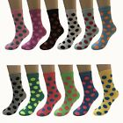New Lot 12 Pairs Womens Fashion Multi Color Dots Girls Crew Socks Size 9 11