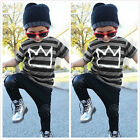 US Toddler Kids Baby Boys Outfit T shirt Tops+Long Pants 2pcs Summer Clothes Set