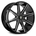 19x85 DUB Wheels +35  5x1143  726 PUSH Rims Black w Milled Accents Set