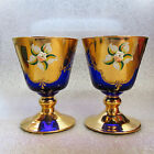 Pair of Vintage Bohemia Cobalt Blue Gold Gilt Hand Painted Wine Water Glasses