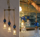 Vintage hanging Swag lamp chandelier tole brass blue Lucite ball