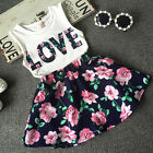 Toddler Baby Kids Girl Dress Tank Vest Tops T Shirt+Skirt Outfit Set Clothes US