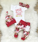 US Newborn Baby Girls Worth the Wait Tops Romper Pants Floral Coming Home Outfit