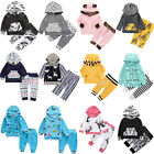 US Newborn Kids Outfit Baby Boy Girl Clothes Hoodie T shirt Tops+Pants Gift Sets