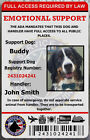 EMOTIONAL SUPPORT ANIMAL ESA ID BADGE SERVICE DOG ID CARD RATED