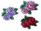 3716 Purple Pink Red Rose Flower Embroidery Iron On Appliqu Patch