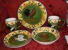 5 PIECES STYLE EYES BAUM BROTHERS PROVENCE ROOSTER...PLATES, BOWLS, MUGS..NICE!