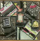 Premade Scrapbook Page Embellishment Kit SEWN 12 pieces Happy