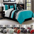 Chezmoi Collection 7 piece Luxury Leaves Scroll Embroidery Bedding Comforter Set
