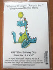 Whipper Snapper Birthday Dino Rubber Cling Stamp dinosaur balloon party