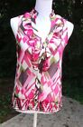 Soulmates Pink brown and green sleeveless top Size S