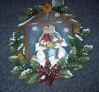 CHRISTMAS WOODWORKS TIN WOOD WREATH HE CAME FOR ALL NATIVITY W SNOWMEN 12 NEW