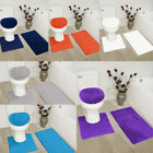 3-Piece Solid Bathroom Bath Mat Contour Rug Set with Toilet Lid Cover #7 Mixture