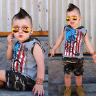 US 2pcs Toddler Baby Boy Camouflage Vest Tops+Shorts Outfits Hooded Clothes Set