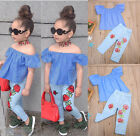 USA Kids Baby Girl 2Pcs Outfit Sets Shirt T shirt Tops+Long Pants Jeans Clothes