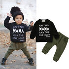 2PCS Kids Baby Toddler Boy Clothes Set T shirt Tops Pants Leggings Outfits US