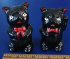 Vintage Black Pigs with Red Bowties Salt and Pepper Shakers, Red Clay