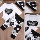 US Stock Newborn Baby Boy Girl Cotton Tops Romper Pants Hat Outfits Set Clothes