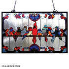 Window Panel Suncatcher Tiffany Style Framed Stained Art Glass Birds Handmade
