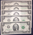 5 New Crisp Uncirculated 2 Two Dollar Bills 2013 - Five Mint Notes From Dallas